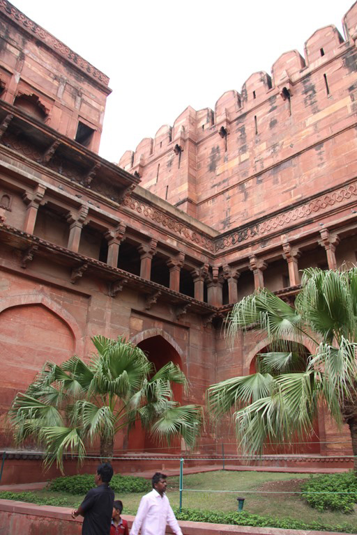 Welcoming courtyard inside Agra Fort