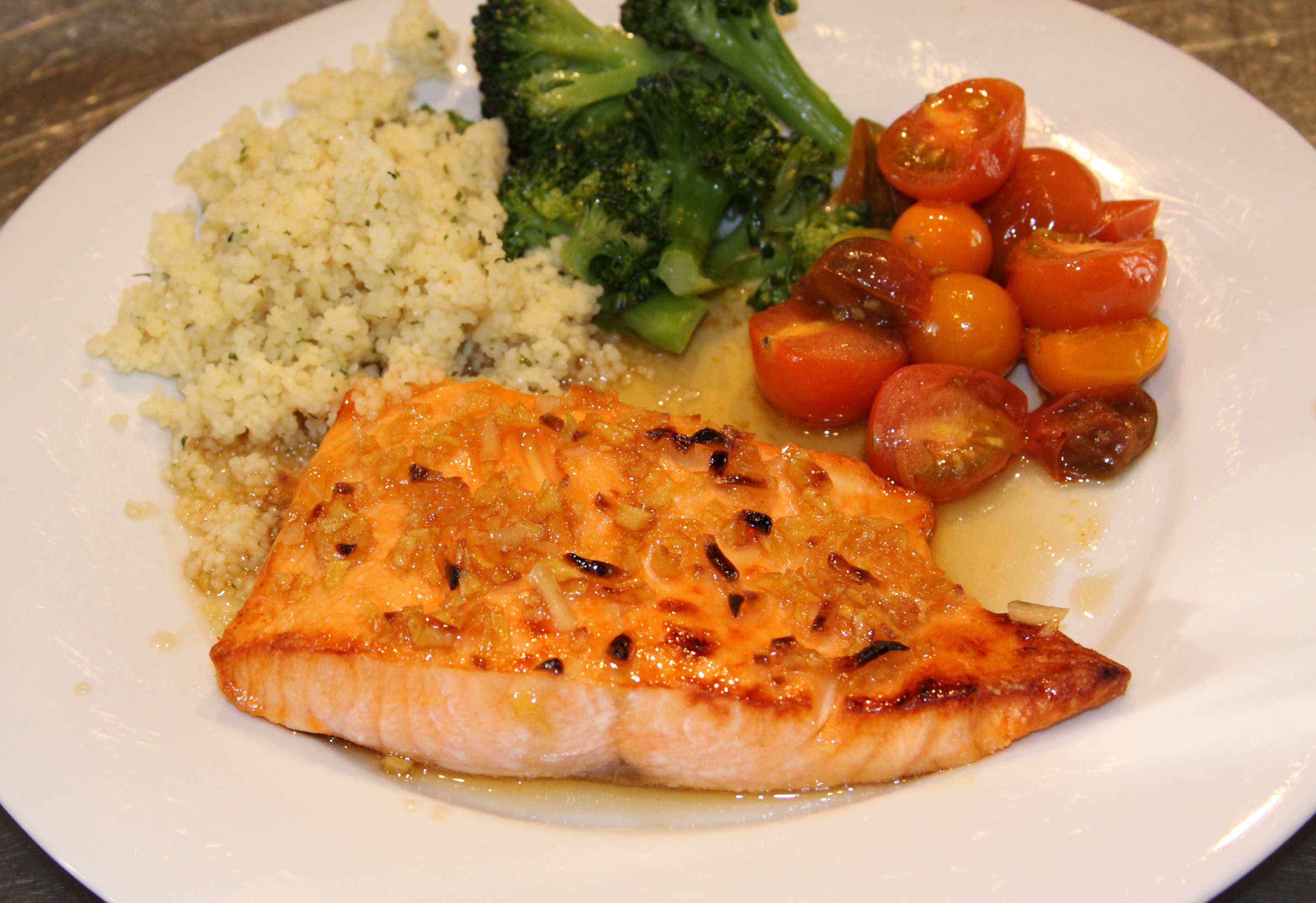 Broiled Salmon with Spicy Maple Basting Sauce