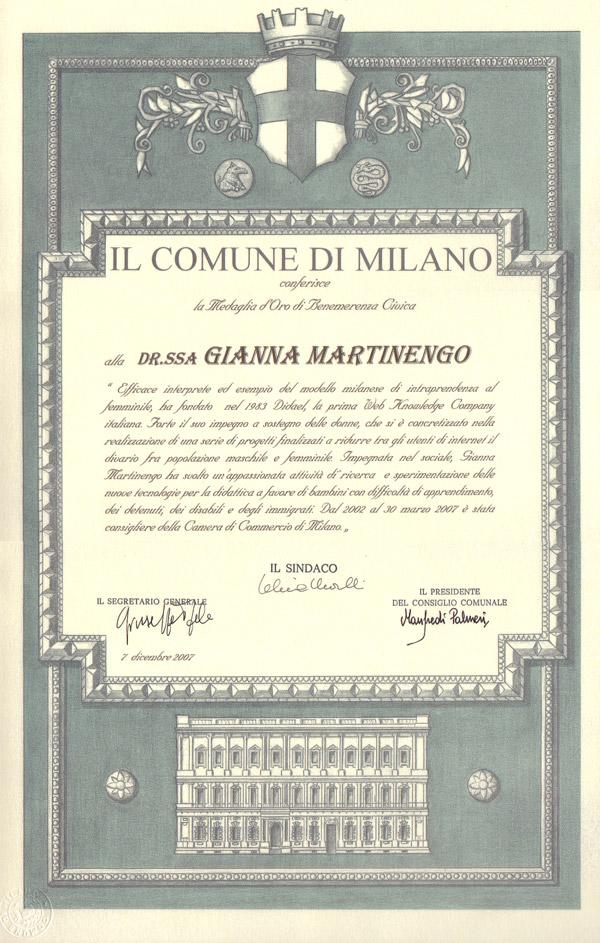 Consegna della medaglia Ambrogino d'oro a Gianna Martinengo (2007)