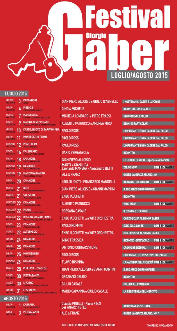 Calendario Festival Giorgio Gaber 2015