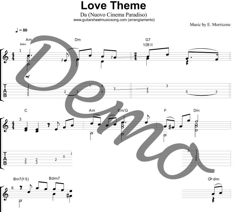 Love Theme (Nuovo Cinema Paradiso) Colonna Sonora per Chitarra