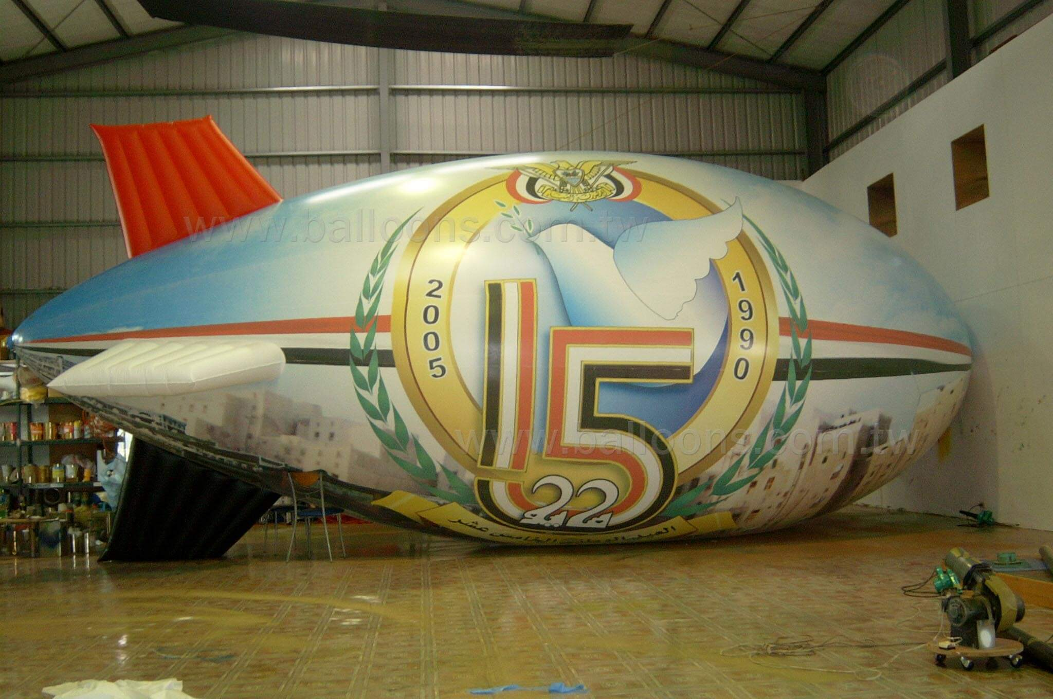30ft long advertising printed inflatable fins blimp全色電噴軟翅飛船