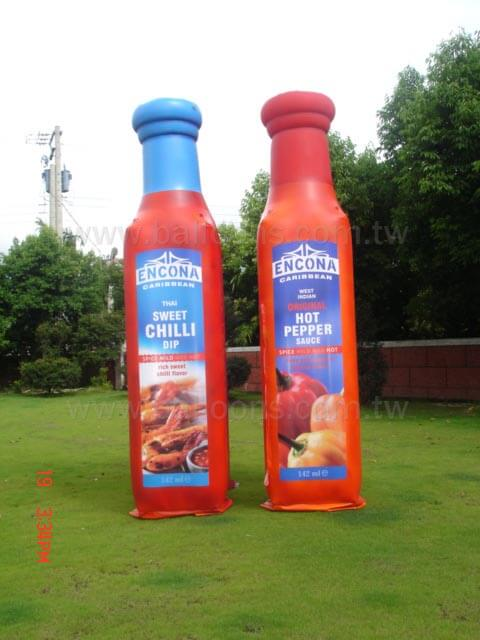 Sweet chili sauce bottle balloon and hot pepper sauce bottle advertising balloon客製化醬料瓶廣告氣球