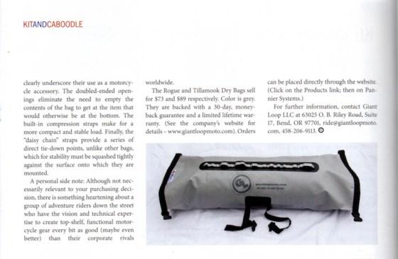 BMW ON magazine reviews Tillamook Dry Bag and Rogue Dry Bag
