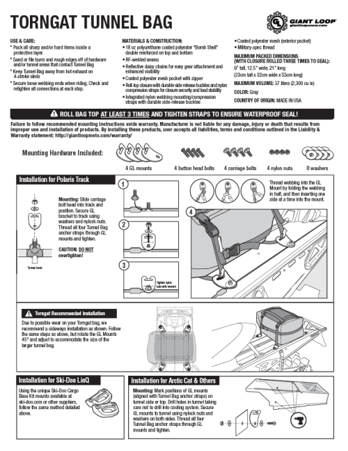 Torngat Tunnel Bag specs and mounting