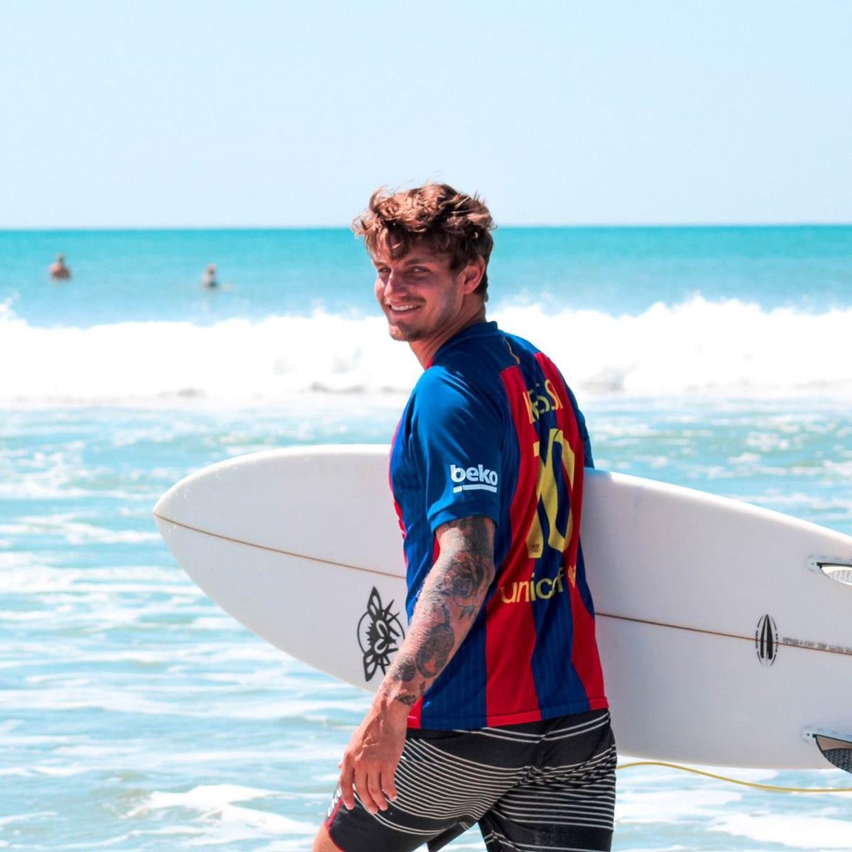 Spencer hitting Surf Camp Nicaragua