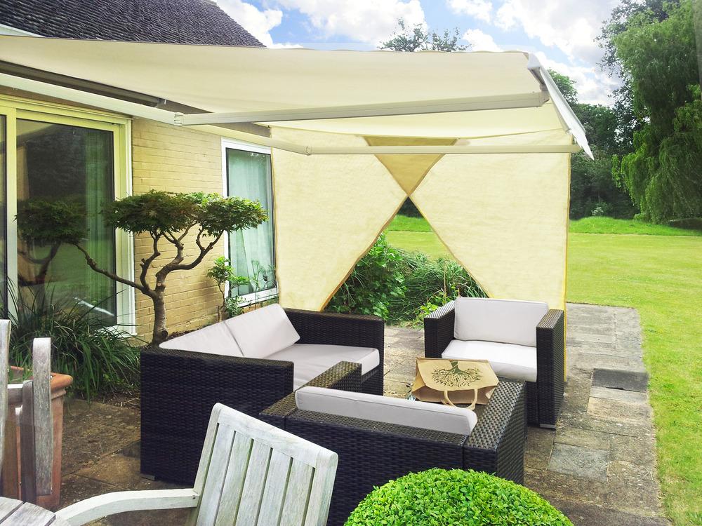 Si consiglia di installare il tende da sole per esterno con un angolo compreso tra 20 e 40 ° (a seconda della situazione) per massimizzare il. Set Da 2 Teli Ombreggianti Laterali Triangolare Avorio Per Tende Da Sole 2 27m 54 99