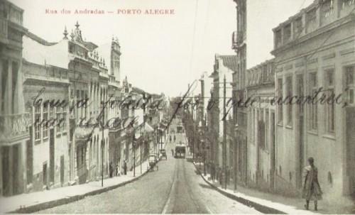Rua dos Andradas (rua da Praia) em 1920