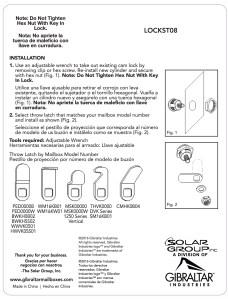 LOCKST08 installation sheet