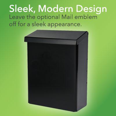 Designer Black Wall Mount Mailbox without Emblem