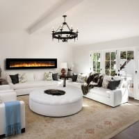 Florence 95 Inch Pebble Wall Mounted Electric Fireplace