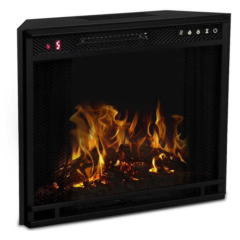 23 Inch LED Ventless Electric Space Heater Builtin Recessed Firebox Fireplace Insert