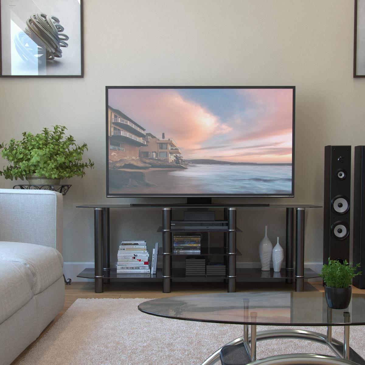 Salerno 60 Inch Glass TV Stand in Black