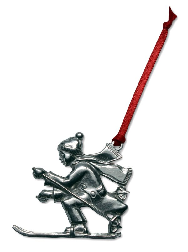 Skier Ornament Gibson Pewter