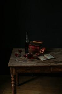 The story of Gibson's Organic Liqueurs: liqueurs on farmhouse table
