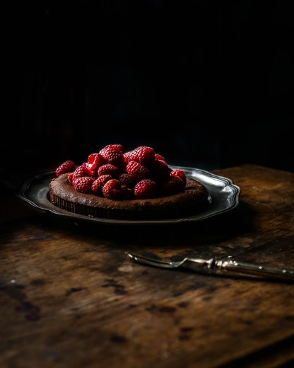 Chocolate cake with raspberry liqueur