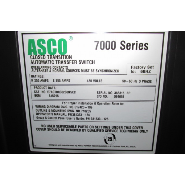 asco 7000 wiring diagram light used 250 amp automatic transfer switch by series e7actbc30250n5xc ats