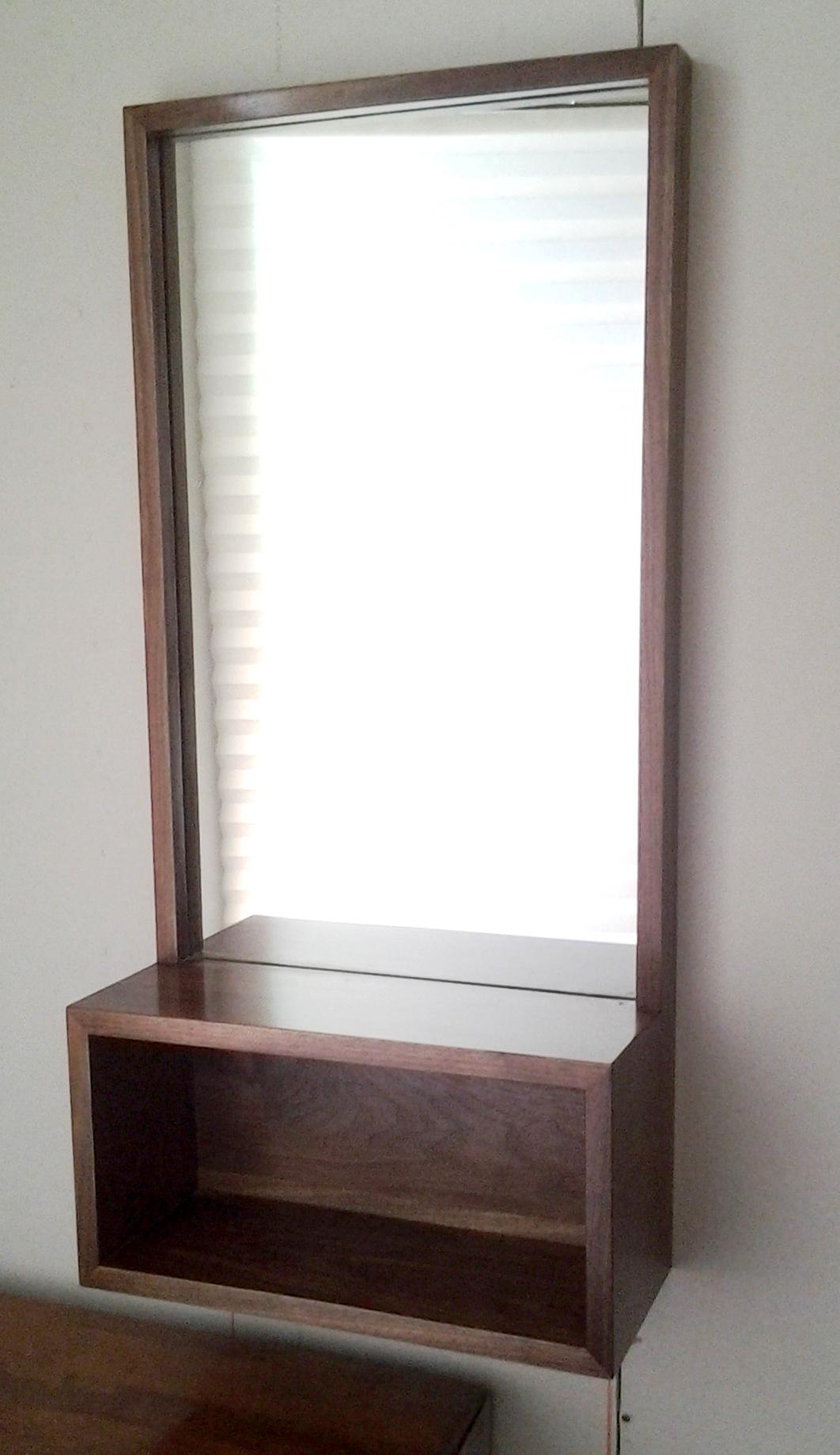 Walnut Entry Hall Mirror with Shelf