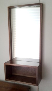 Walnut Entry Hall Mirror with Shelf