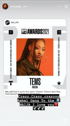 Tems gets nominated at the BET Awards for Best New International Act, See how you can Vote