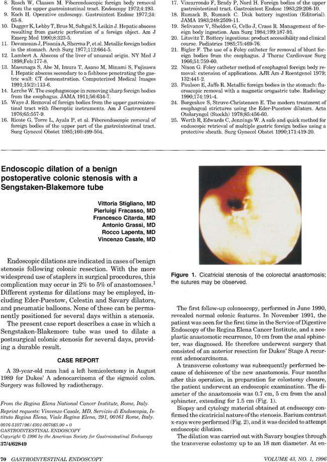 Endoscopic dilation of a benign postoperative colonic