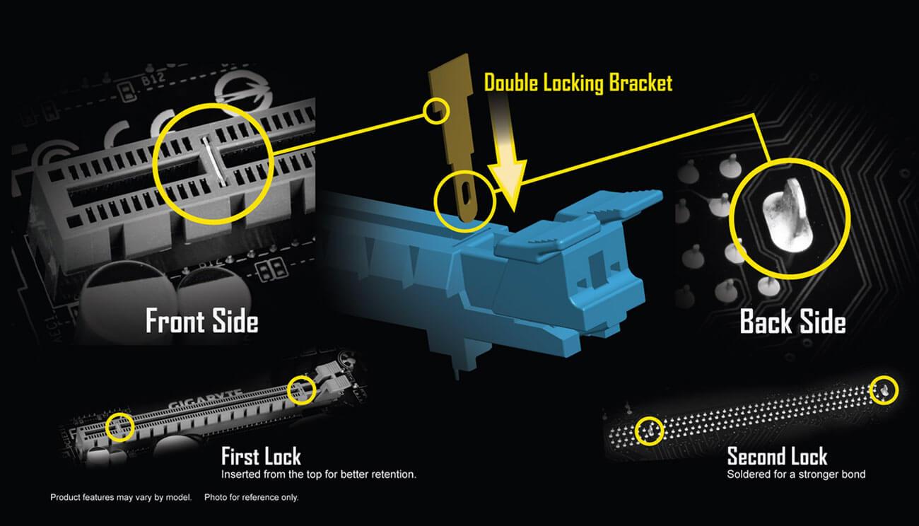 hight resolution of gigabyte patented double locking bracket