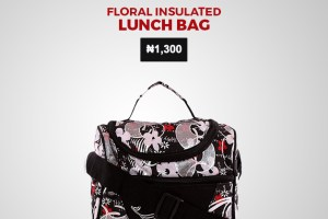 Payporte 1k store - Floral Insulated Lunch bag--Black-Small In
