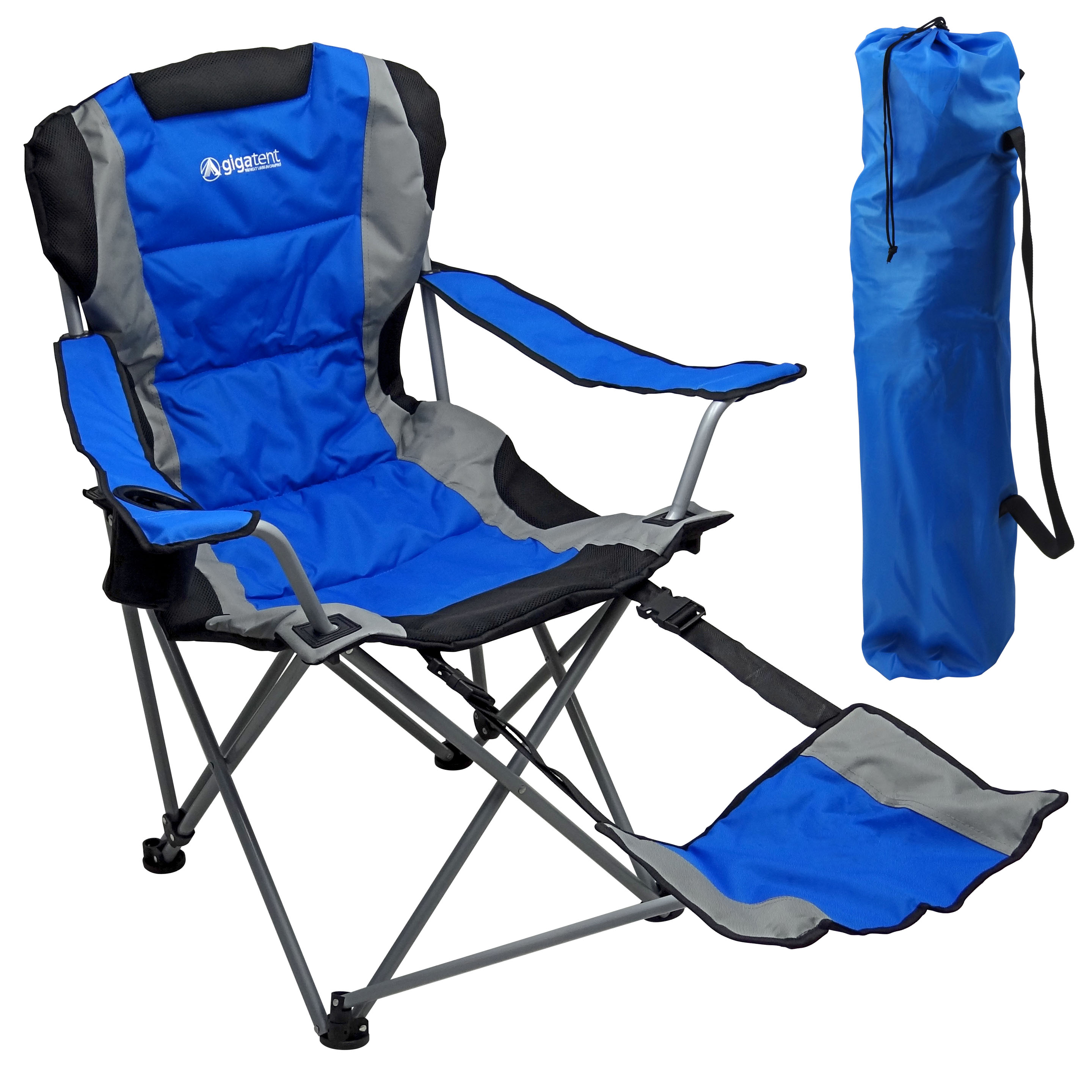 Camping Chair With Footrest Blue  Gigatent