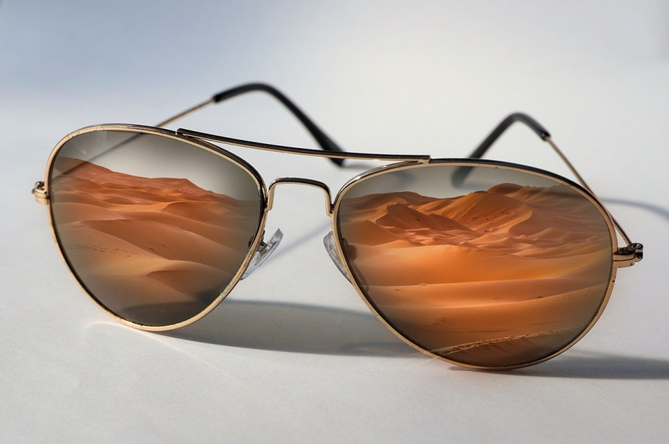 sunglasses, desert, reflection