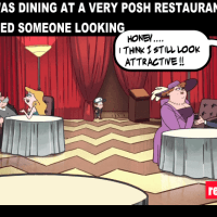 This couple was having a dinner and he noticed something exciting