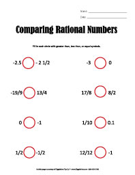 Comparing Rational Numbers Worksheet. Worksheets