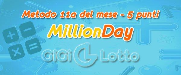 MillionDay obbiettivo 5 punti