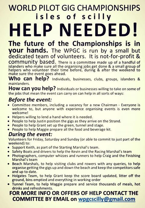 Helpers required for World Pilot Gig Championships