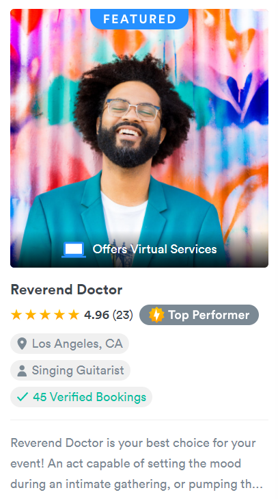 GigSalad profile example with verified bookings