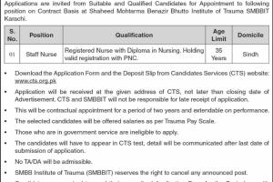 Staff Nurse Required for SMBBIT Institute of Trauma Karachi Jobs 2020