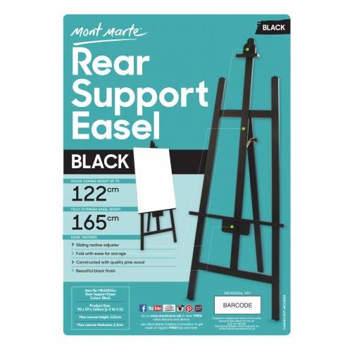 Mont Marte Rear Support Easel – Black unassembled – Gilar