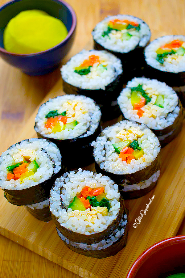 Vegetarian Kimbap Korean Seaweed Rice Roll