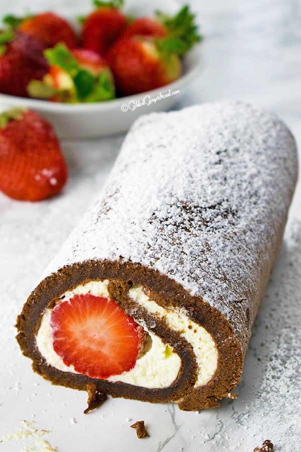 Nutella Strawberry Chocolate Roll Cake GIlded Gingerbread