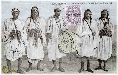 Colonial postcard shwoing gnawa musicians