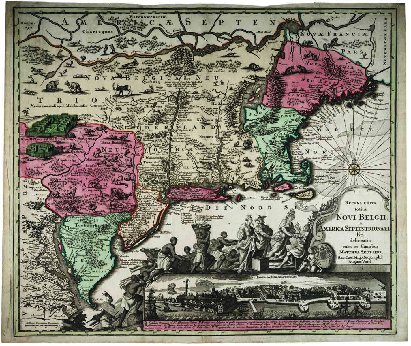 Map Of The New World With European Settlements And American Indian Tribes