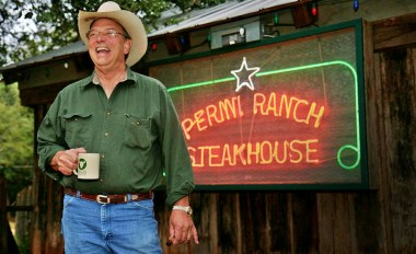 Founder Tom Perini, pictured in front of his steakhouse, Perini Ranch