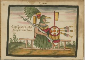 The Aztec god with hummingbird mask