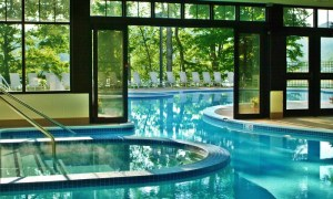 An indoor/outdoor pool is a selling point to be one of our destination hotels. This one is at Stonewall Resort.