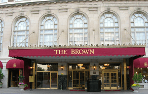 The Brown Hotel's impressive entrance.
