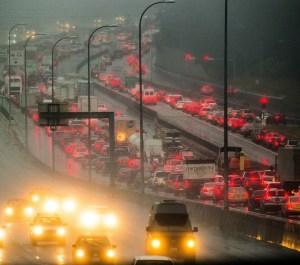 A rainy night outside of Everett, Washington.