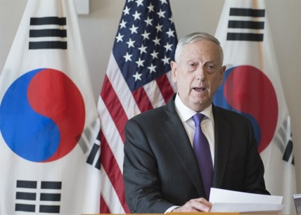U.S. Secretary of Defense James Mattis delivers a statement before a meeting with the Republic of Korea (ROK) Minister of National Defense Song Young-moo at USPACOM headquarters. Secretary Mattis and Minister Song reaffirmed the U.S.-ROK alliance and the mission to maintain peace and stability on the Korean Peninsula. (Photo by Petty Officer 2nd Class James Mullen)