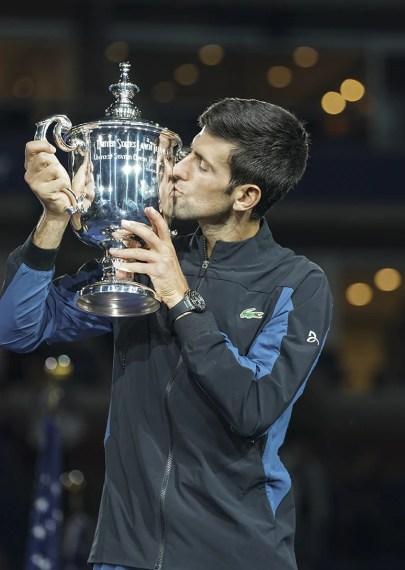 New York, NY - September 9, 2018: Novak Djokovic of Serbia holds trophy after winning men's single final of US Open 2018 against Juan Martin del Potro of Argentina at USTA Billie Jean King National Tennis Center (Photo: Lev Radin/Gildshire)