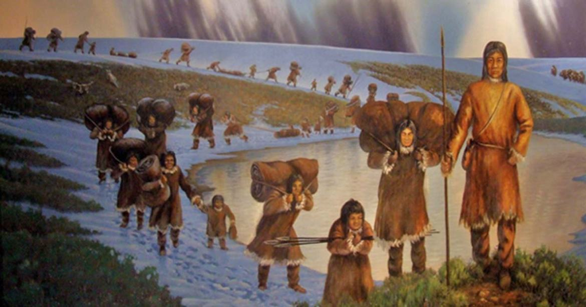 The first people probably came on foot from Siberia across the Beringia Land Bridge which existed between Eurasia and Alaska