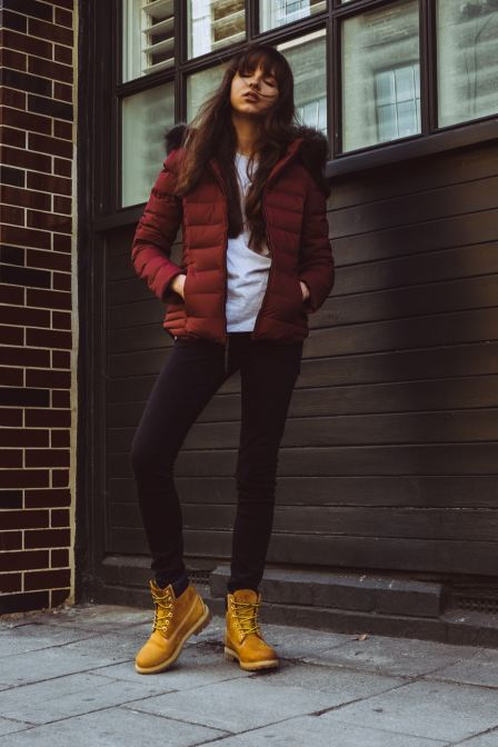 Looking cool while staying warm in a puffer jacket.