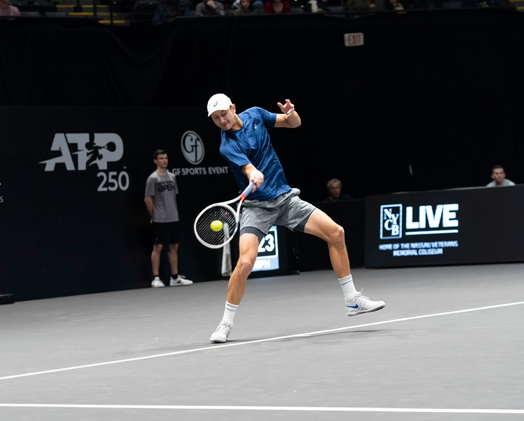 Heampstead, NY - February 17, 2019: Brayden Schnur of Canada returns ball during final of New York Open ATP 250 tournament against Reilly Opelka of USA at Nassau Coliseum. Photo by Lev Radin.
